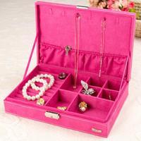 European 1 Layer Jewelry Box With Flannelette Square Type Jewel Storage Case