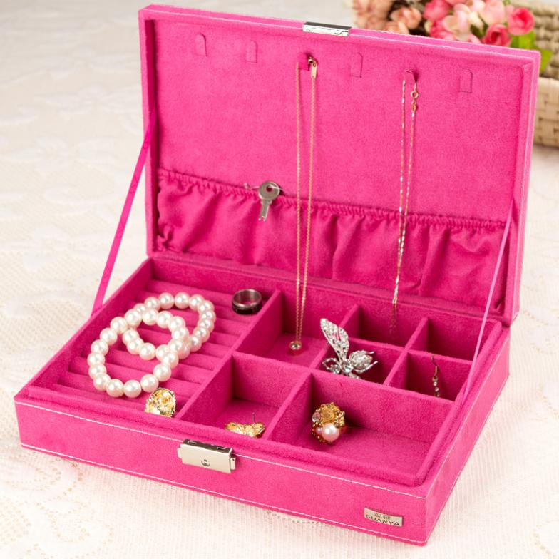 European 1 layer jewelry box with flannelette square type jewel storage case 5 colors option