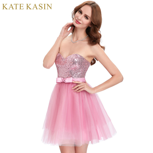 Stock Pink Tulle Sequins Mini Prom Dresses 2017 Cheap Party Dress ...