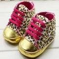 Infantil Da Criança do Bebé Leopard Ouro Crib Shoes Primeira Walker Sapatilha Tamanho 11 12 13