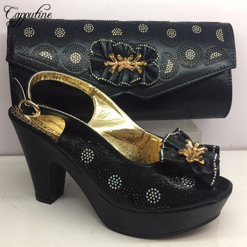 2019 New Arrival Ladies Black Shoes And Bag Set For Evening Party Africa Style Fashion High Heels Shoes And Bag Set  BL275C