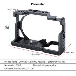 Image 4 - UURig A6400 אנכי L סוג צלחת Vlog דיור כלוב הר ידית וידאו Rig מצלמה סוגר בעל w מיקרופון קר נעל עבור Sony A6400