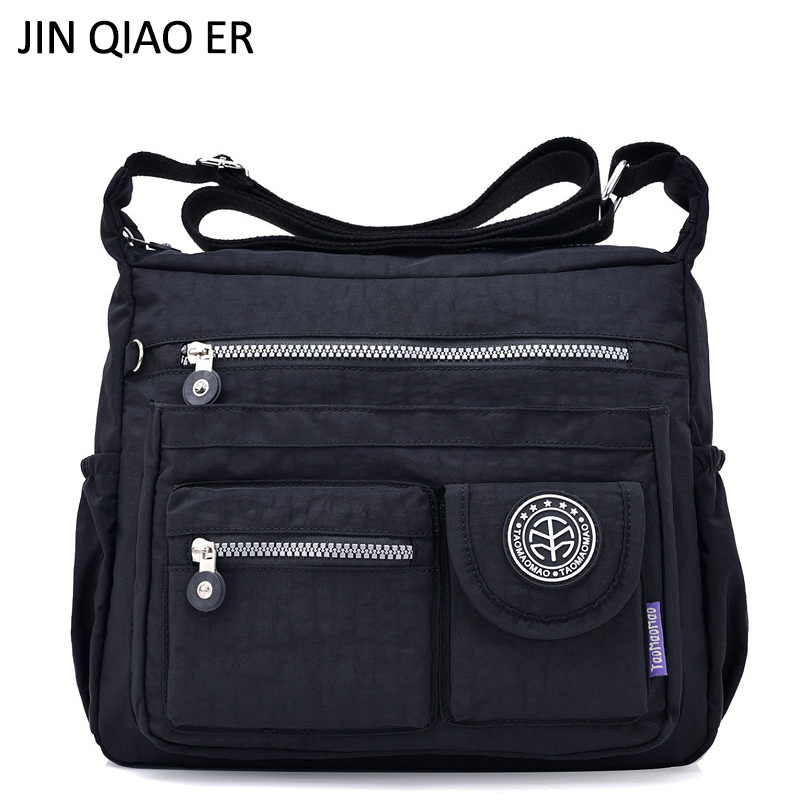 JINQIAOER Waterproof Nylon Women Shoulder Bag Casual Women Handbags High Quality Female Multi-pocket Zipper Messenger Bag Bolsas jinqiaoer nylon summer beach bag designer handbags high quality women tote bag waterproof shoulder bags with coin purse