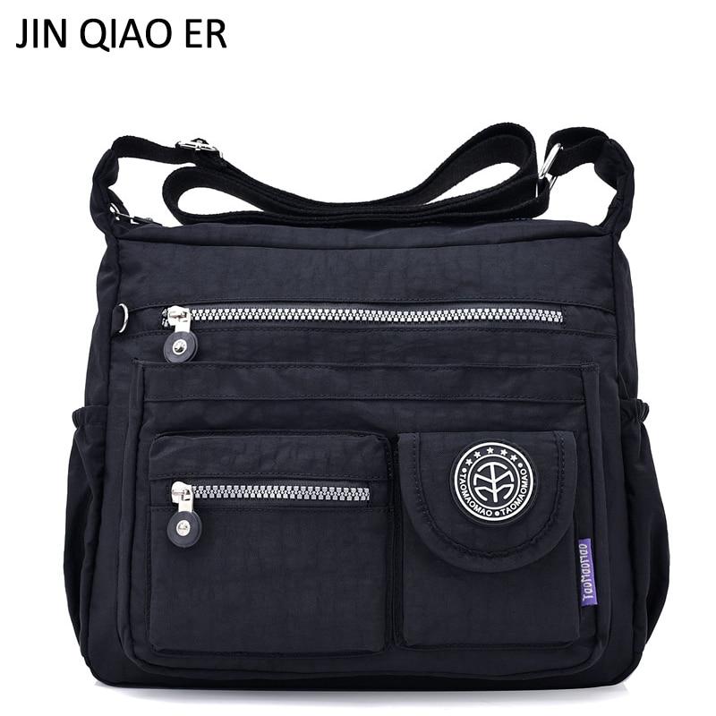 JINQIAOER Waterproof Nylon Women Shoulder Bag Casual Women Handbags High Quality Female Multi-pocket Zipper Messenger Bag Bolsas