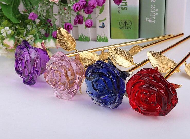 Crystal Glass Rose Flower Wedding Event Decorative Crafts
