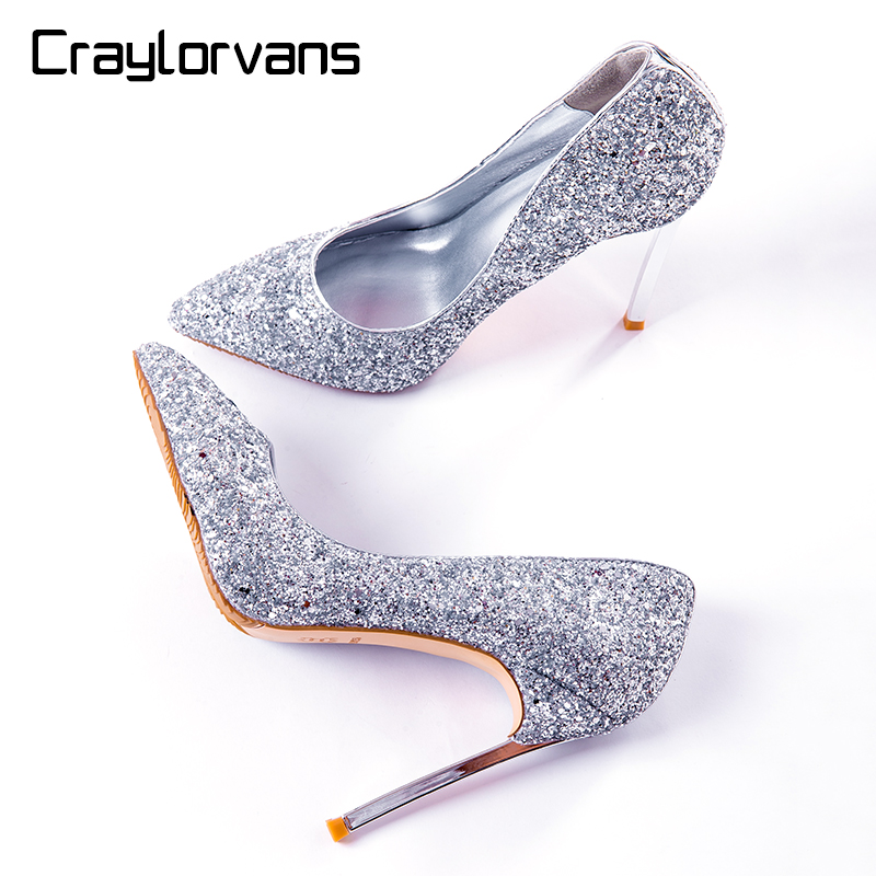 Craylorvans  Sexy Bling Shoes Women 2017 NEW Arrive Sliver High Heels Fashion Ladies Wedding Shoes Pointed Toe Big Size 43  12cm