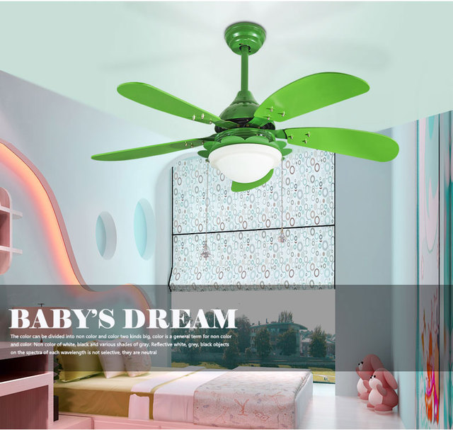 42 Inch Children S Room Pink Or Green Color Ceiling Fan Light With 12w Led Lamp And