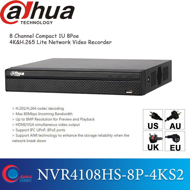 Dahua 8POE 4k NVR recorder NVR4108HS 8P 4KS2 H 265 Up to 8MP Resolution and 1