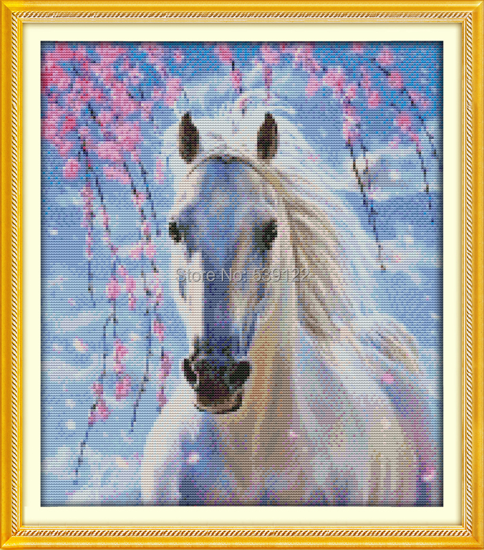 White Horse (2)! DIY Needlework 11CT 14CT DMC Counted Cross Stitch Sets Kits for Embroidery Knitting Needles Hobbies and Crafts