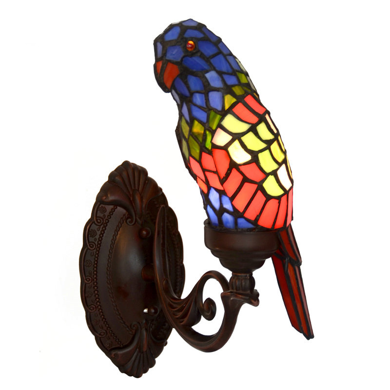 European Nordic American Rustic Stained Glass Tiffanylamp Bird Sources Led Wall Lamp Light Salon Drawing Living Room Decorative
