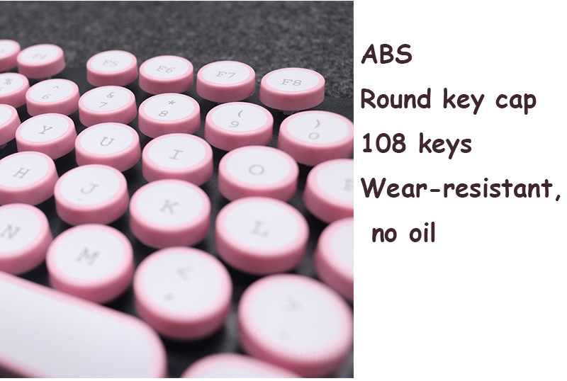 ABS USB Wired Typewriter Steam Punk Style Keyboard With Round Glowing Keycaps For PC Laptop 7