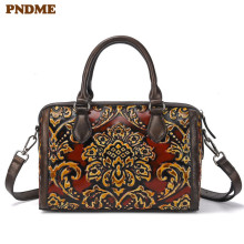 PNDME fashion vintage genuine leather ladies handbag designer handmade embossed daily cowhide womens shoulder messenger bags