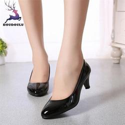 2018 nova nude boca rasa sapatos femininos moda escritório trabalho sapatos de salto alto senhoras elegantes sapatos de salto baixo mulher tamanho grande 35 42 42