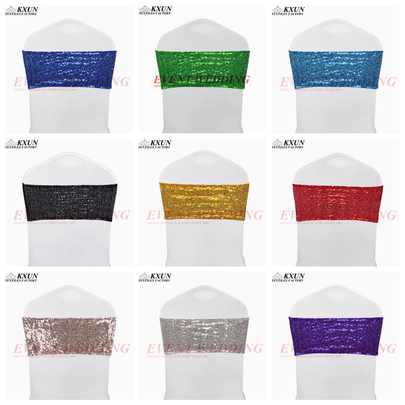 50pcs Lot Sequin Chair Band Tie Bow Lycra Spandex Chair Cover Sash Wedding Event Decoration