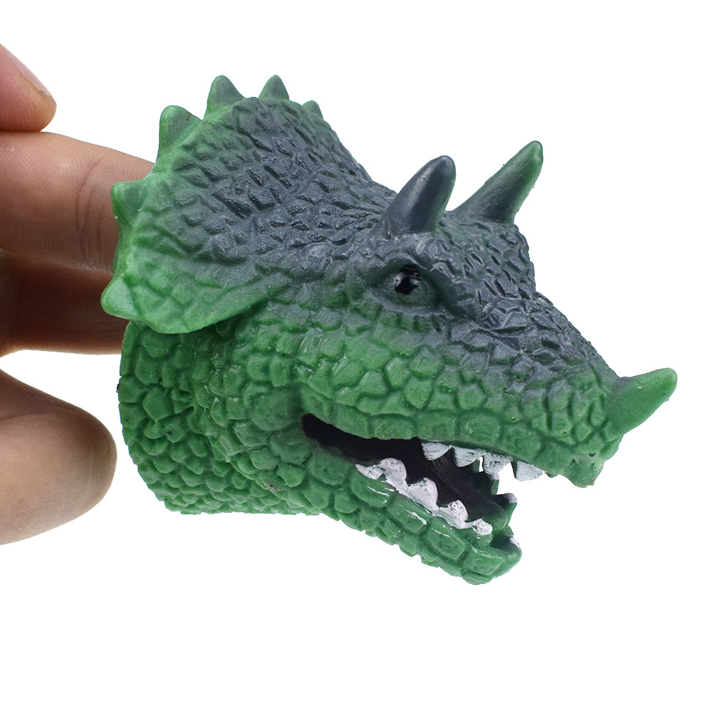Dinosaur Toys Triceratop Dilophosaurus Head Gloves Hand Puppets Kids Role Play