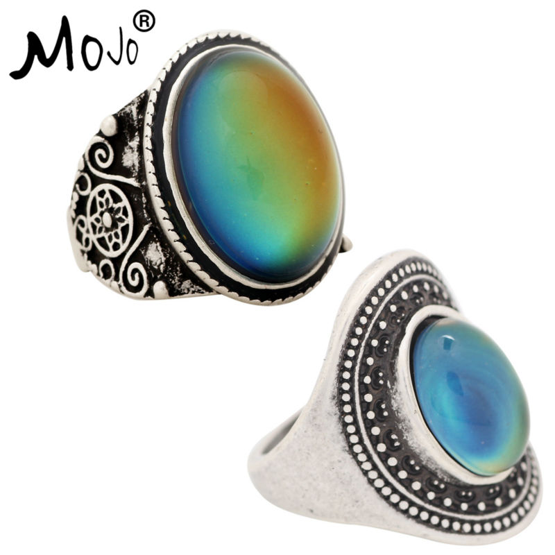 2PCS Antique Silver Plated Color Changing Mood Rings Changing Color Temperature Emotion Feeling Rings Set For Women/Men 004-011