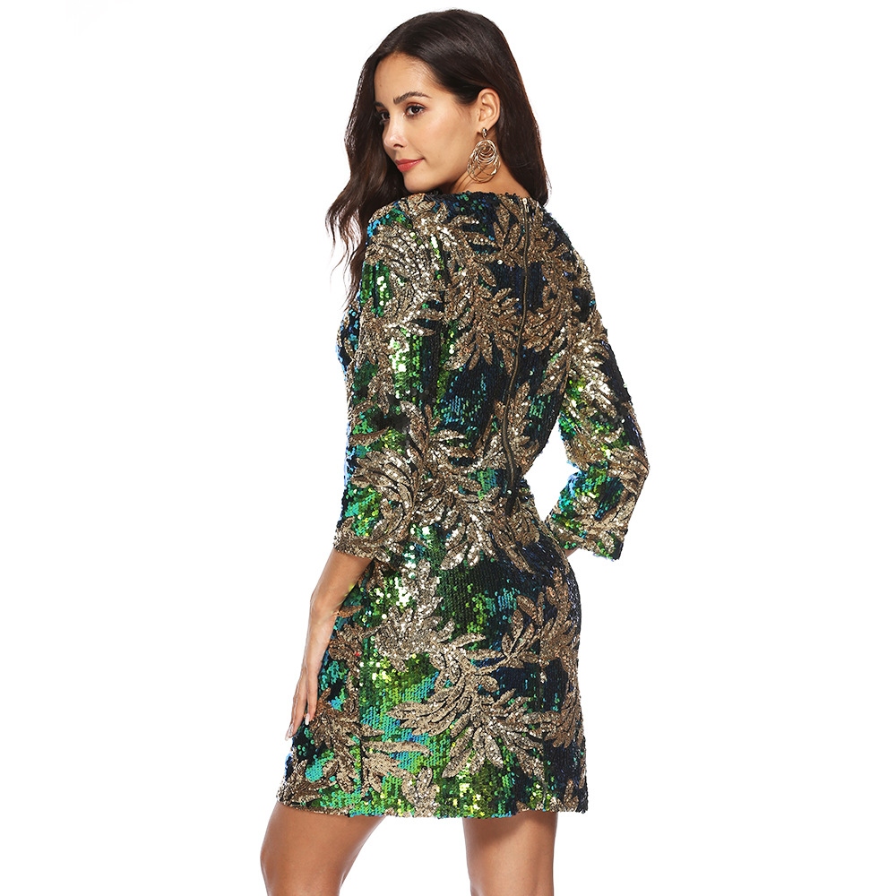 ea9b1246ee US $23.25 25% OFF|Autumn Women Iridescent Sequin Velvet Dress Stretchy O  Neck 3/4 Sleeve Floral Paillettes Party Club Bodycon Dress -in Dresses from  ...