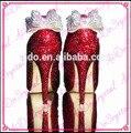 Aidocrystal Ruby Red crystal con Clear bow detalles de Lujo peep toe zapatos de novia Zapatos de Tacones