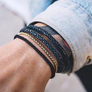Мужской браслет из нержавеющей стали, браслет из натуральной кожи