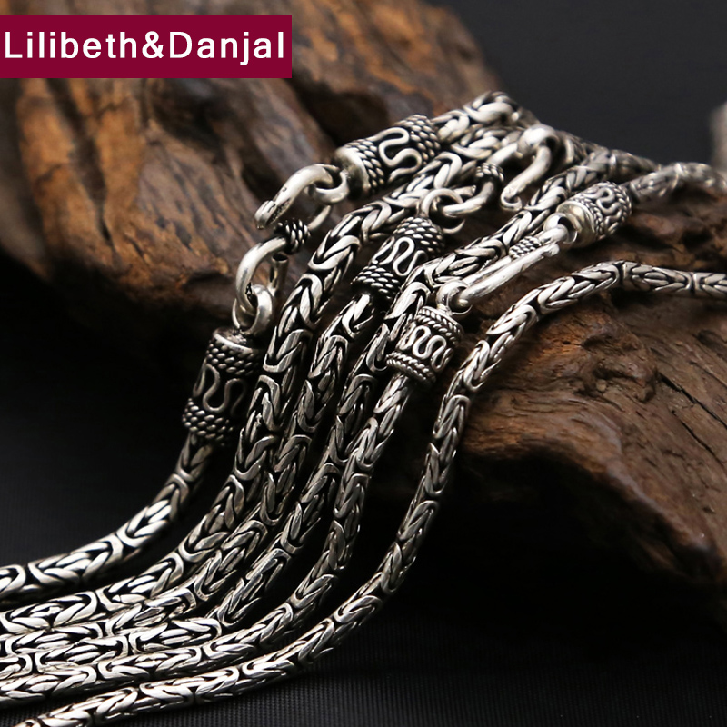5mm Necklace 100 Real 925 Sterling Silver Jewelry Vintage Safe pattern chain Pendant Necklace Gift Men