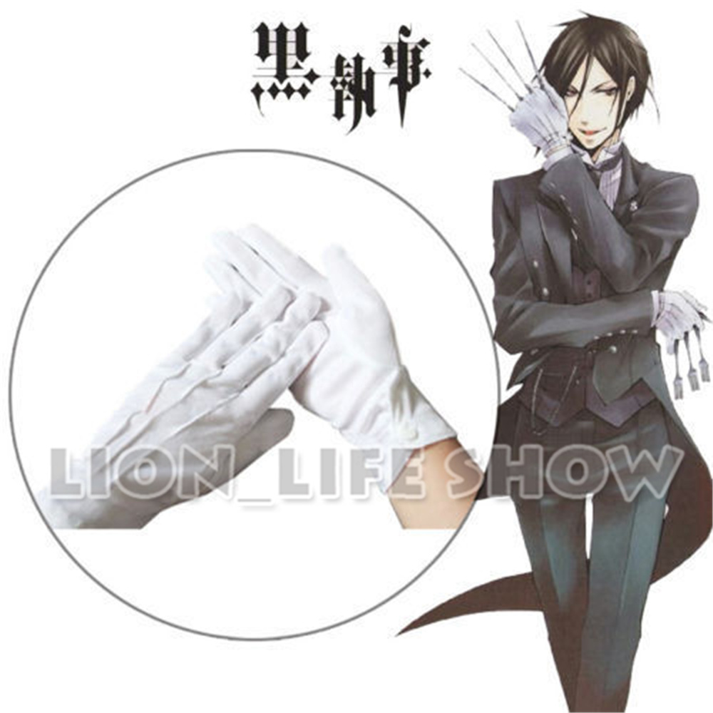 Biamoxer Black Butler Sebastian Yuichiro Cosplay White Gloves With Button Accessories