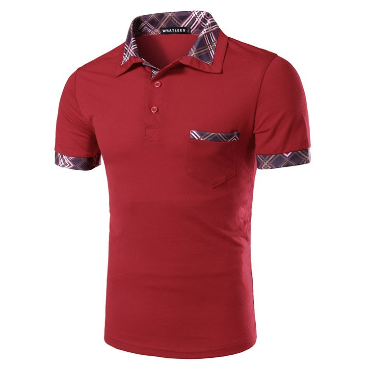 Men Polo Shirt Fashion Plaid Collar Business Mens Polo 2016 Casual Short Sleeved Sports Golf Tennis Cotton Polo Red Camisa M-2XL (2)