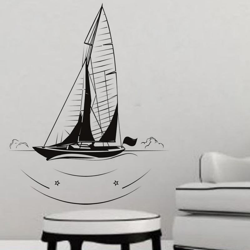 Popular Scenery Wall Sticker Living Room Decorative Nautical Sailboat Wall Decal Vinyl Removable DIY Home Decor