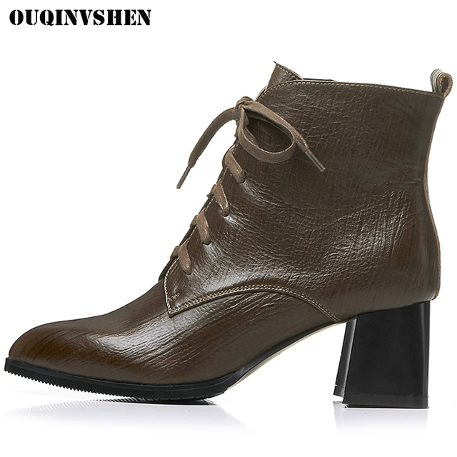 OUQINVSHEN Pointed Toe Square heel Women's Boots Genuine Leather Zipper Women Ankle Boots Winter Short Plush High Heel Girl Boot