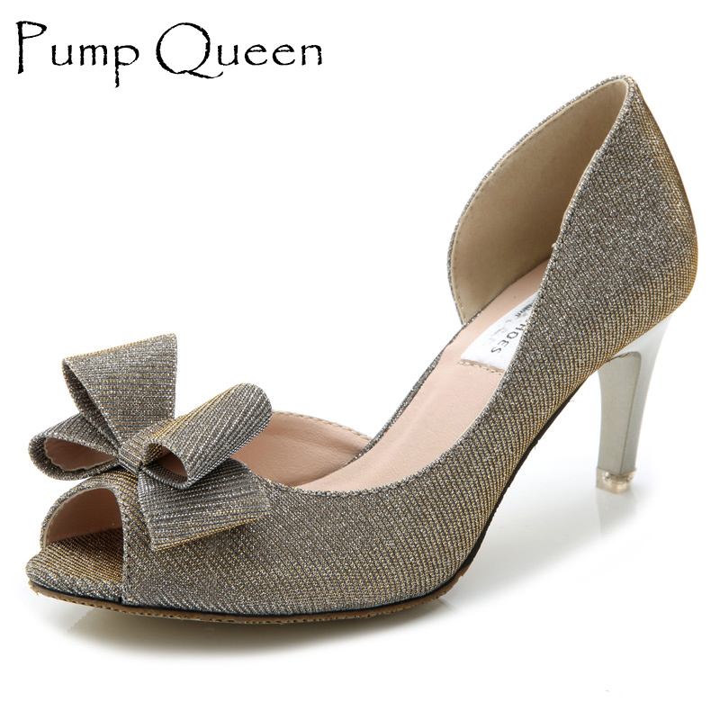 Zapatos Mujer Brand Women's Shoes 2016 Spike Medium Heels Open Toe Footwear For Woman Elegant Bow Ladies Sequin Party Pumps