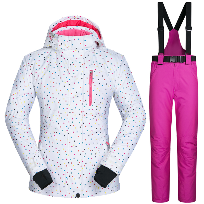 Outdoor Sports Women font b Ski b font Jacket And Pants Suit Set Windproof Waterproof Winter