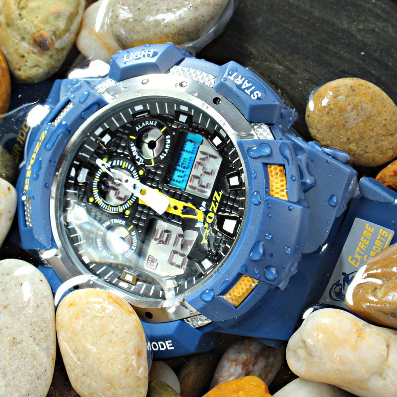 EPOZZ <font><b>100M</b></font> Waterproof Shock Resistant swim men sport watch Digital analog dual display hours Male Top Brand Luxury Clock 3001 image