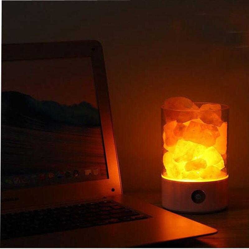 4pieces Lava Lamps Himalayan Salt Lamp Crystal Salt Stone Air Purification Salt Lamps Promote Sleep Bedroom LED Night Lights