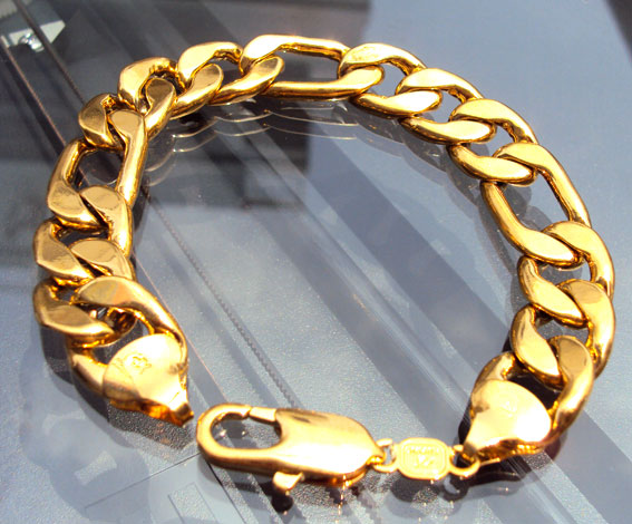 Handsome SOLID YELLOW GOLD GF MEN S Chain Bracelet 8 8Inches ITALY New