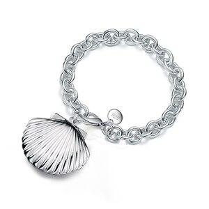 Очаровательные браслеты из стерлингового серебра 925 пробы, браслет с массивной цепочкой в форме ракушки, медальон, элегантные ювелирные укр...