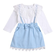 Children Dressed Pretty Girls Dress Spring Lovely Lace Denim Dress for Kids Dress Baby Girl Clothes