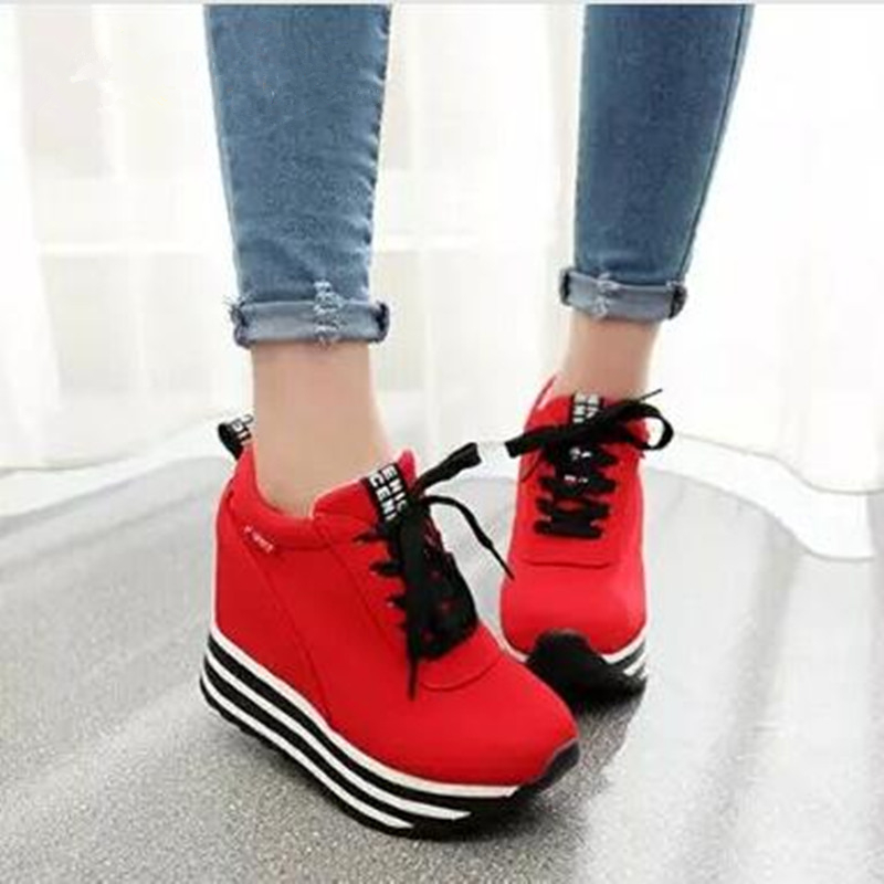 MIUBU HOT Breathable Casual Shoes Women Shoes Lace Up Height Increasing 9.5 Cm High Platform Women's Shoes Trainer Sapato fashion women elevator candy color breathable canvas high platform denim lace up casual shoes height increasing wedges shoes