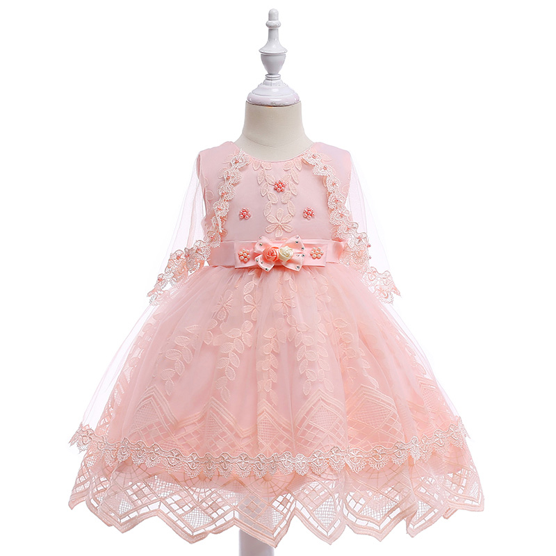 Retail Cute Beading Embroidery Wave Hemline Princess   Flower     Girls     Dress   With Shawl Elegant Lace   Girls   Party Gown   Dress   L5010