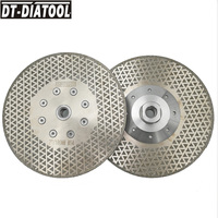 DT DIATOOL 2pcs Electroplated Diamond Cutting Discs Stone Grinding Saw Blade Cutting Wheel M14 Flange for Marble tile 7/180mm
