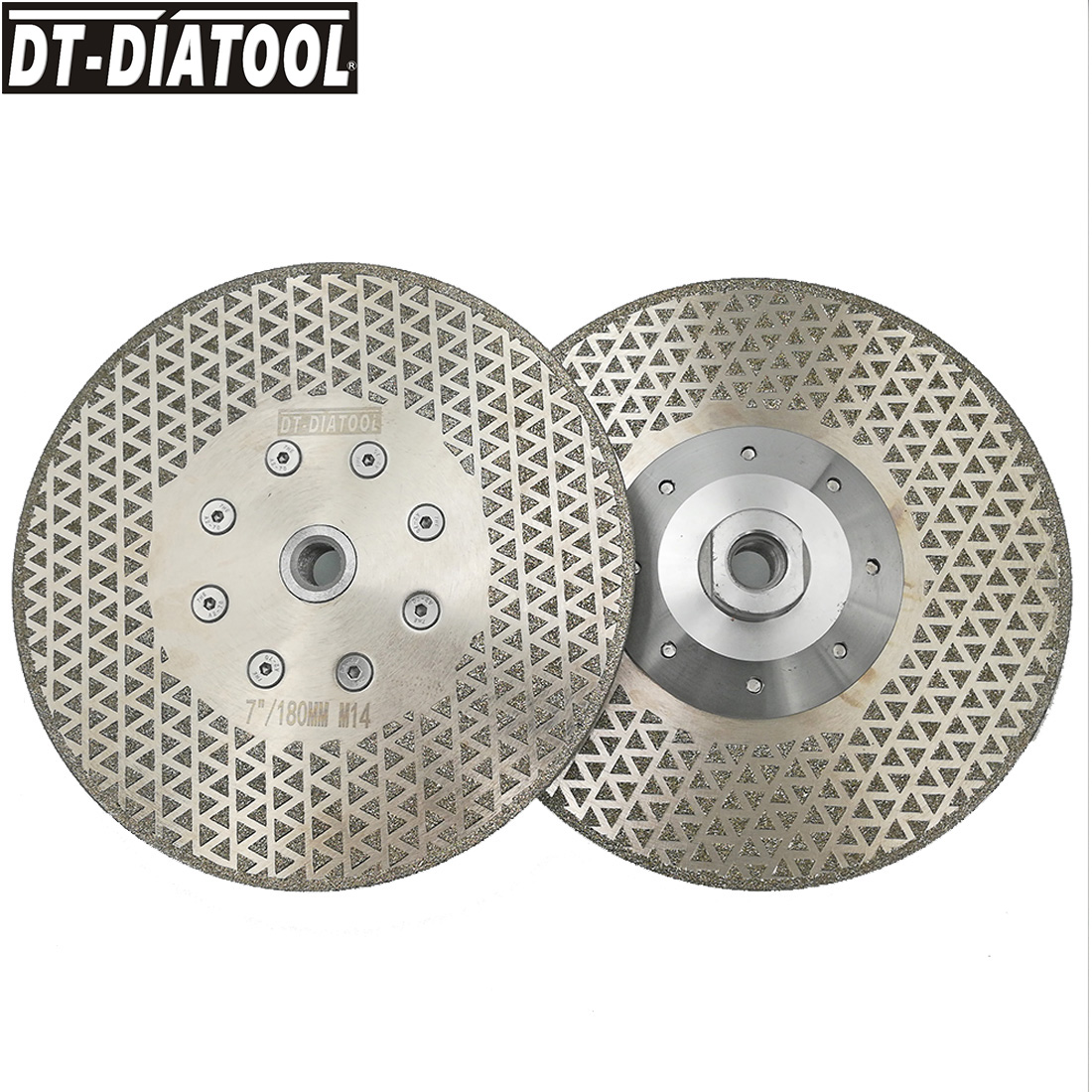 DT-DIATOOL 2pcs Electroplated Diamond Cutting Discs Stone Grinding saw blade or wheel M14 Flange for Marble or tile 7/180mm 100mm brazing cutting piece diamond grinding bowl marble grinding wheel angle grinder saw blade ceramic stone grinding