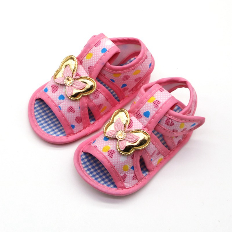 Newborn Baby Girl Soft Sole Shoes Anti-slip Heart Print Prewalkers Butterfly Design First Walkers Walking Shoes Baby Girl 0-18M