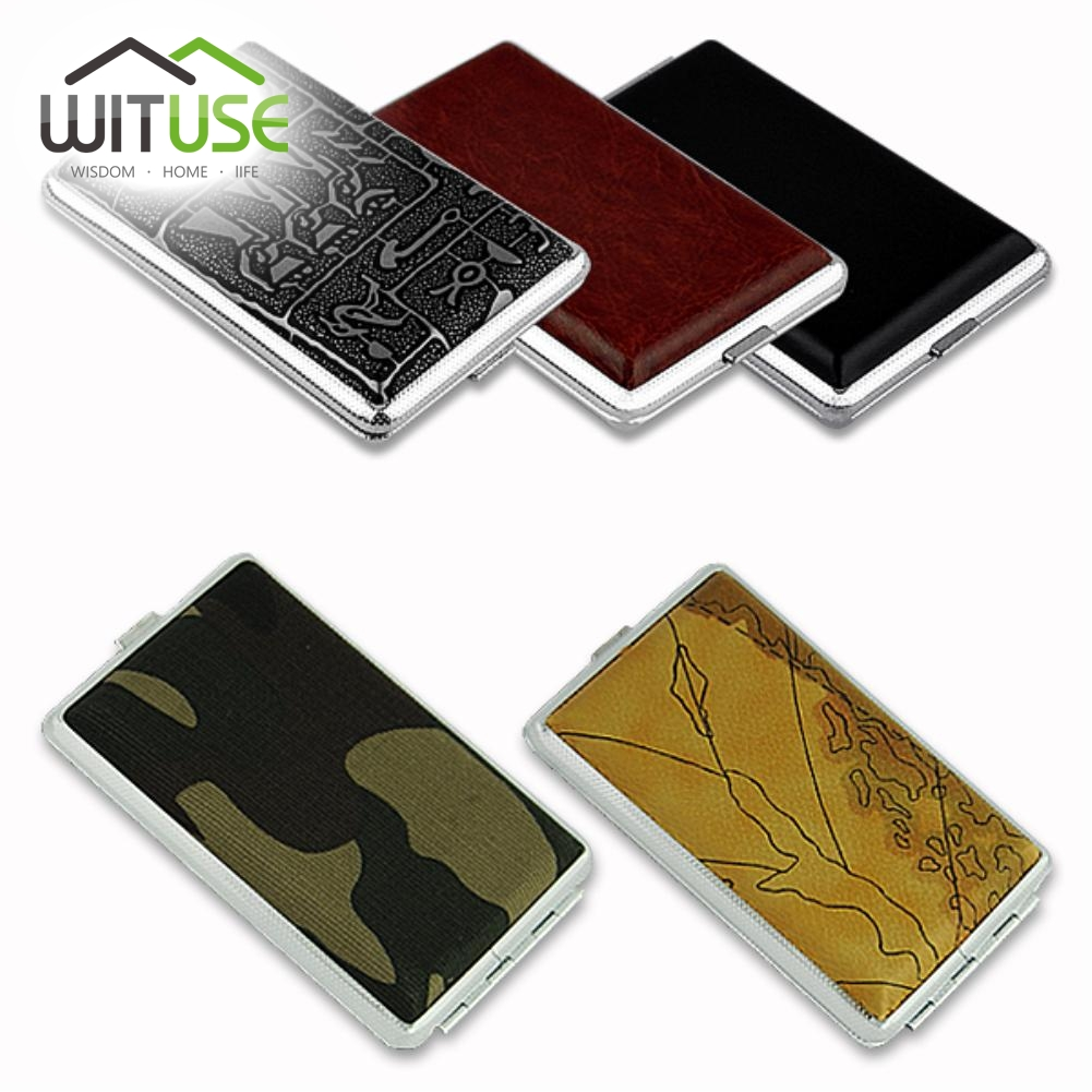 WITUSE 1Pc Protable Lady Women Slim Metal + Leather 12 gabali cigarešu cigarešu tabakas turētāja uzglabāšanas korpuss Pocket Box Drop Shipping