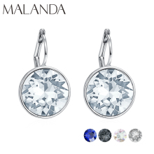 купить Malanda Brand Colorful Round Bella Crystal Stud Earrings For Women Crystals From Swarovski Fashion Earrings wedding Jewelry New в интернет-магазине