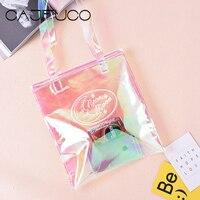 CAJIFUCO Geléia Das Mulheres Saco de Compras Cor Do Arco Íris Tote Sacos Transparentes Saco de Praia PVC Transparente Laser bolsas Bolsa Feminina