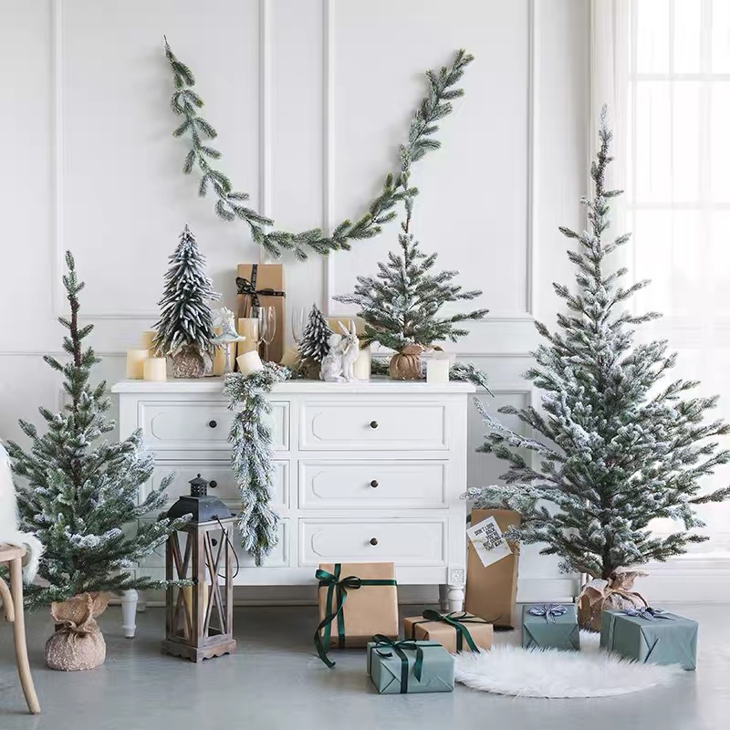 Christmas Artificial Tree White Fake Tree Hanging Ornaments Mini Small Cedar Pine Trees New Year Home Decorations Tinsel Garland