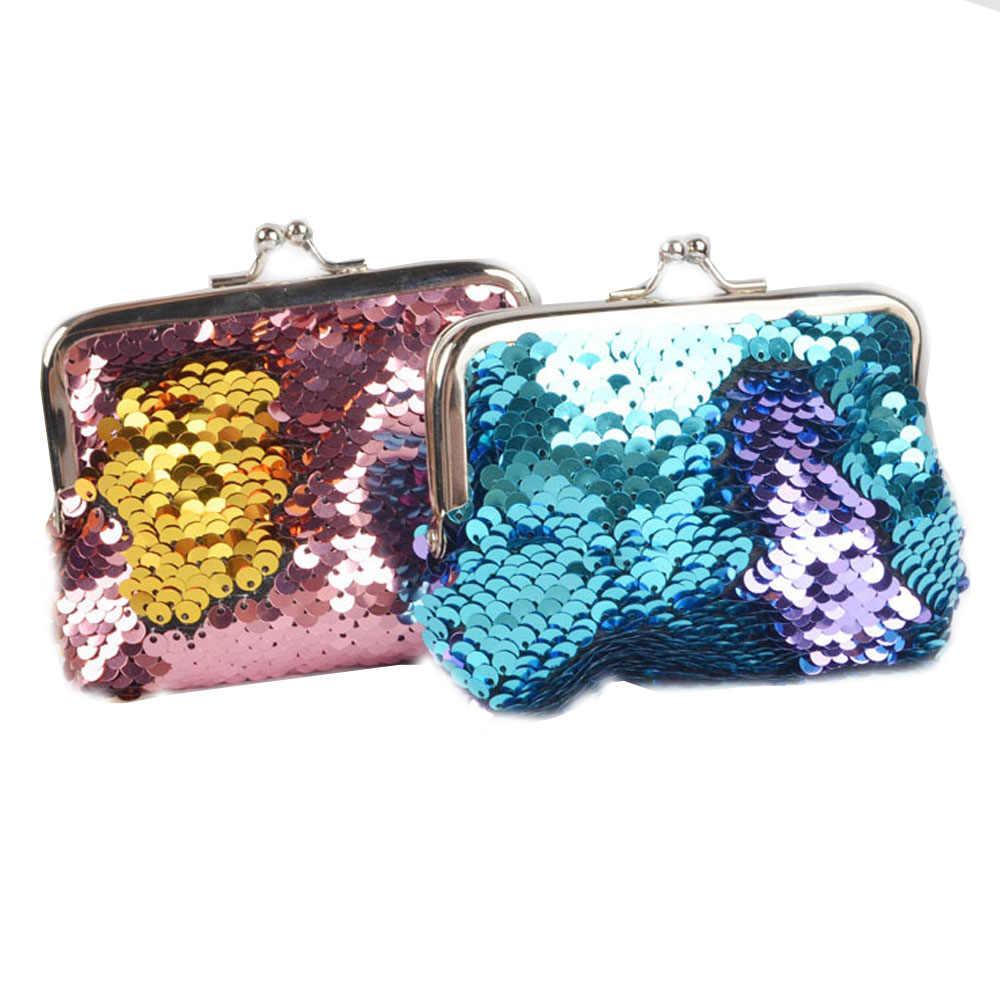 1PC Double Color Sequins Glitter Mini Black Wallet Clutch Buckle Bolsa Women  Girl Change Money Coin 98d5e11894f9