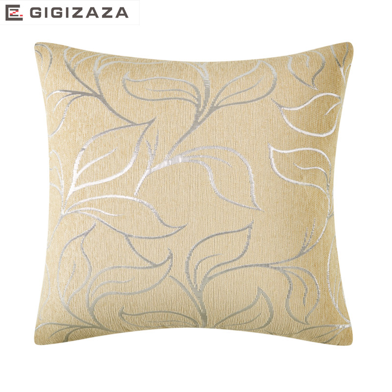 Silence Leaves Silver Jcquard Chenille fabric Wholesales Pillow cushion tan Cushion cover Home Decorative 45x45cm/50*50cm
