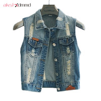 New 2015 Waistcoat Female Slim Sleeveless Jeans Jacket Colete Plus Size Female Tops Denim Vest Women