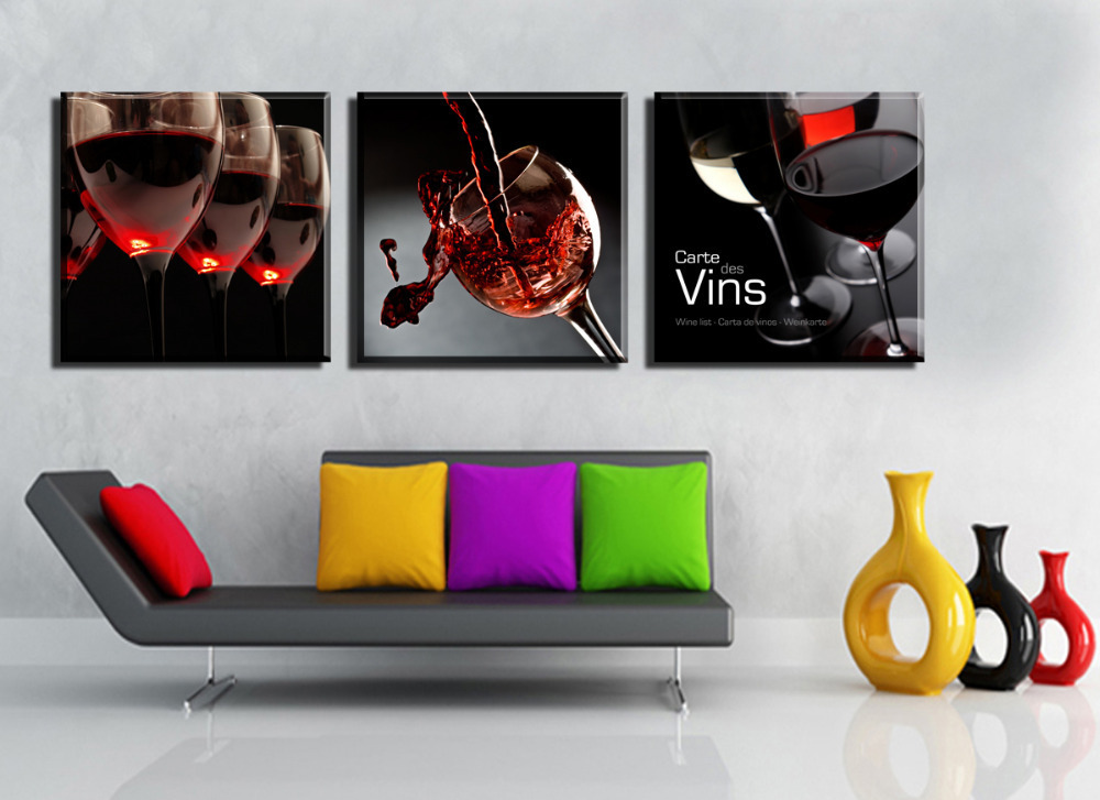 3 Pane Red Wine Glass Wall Print Painting Canvas Large Art HD ...