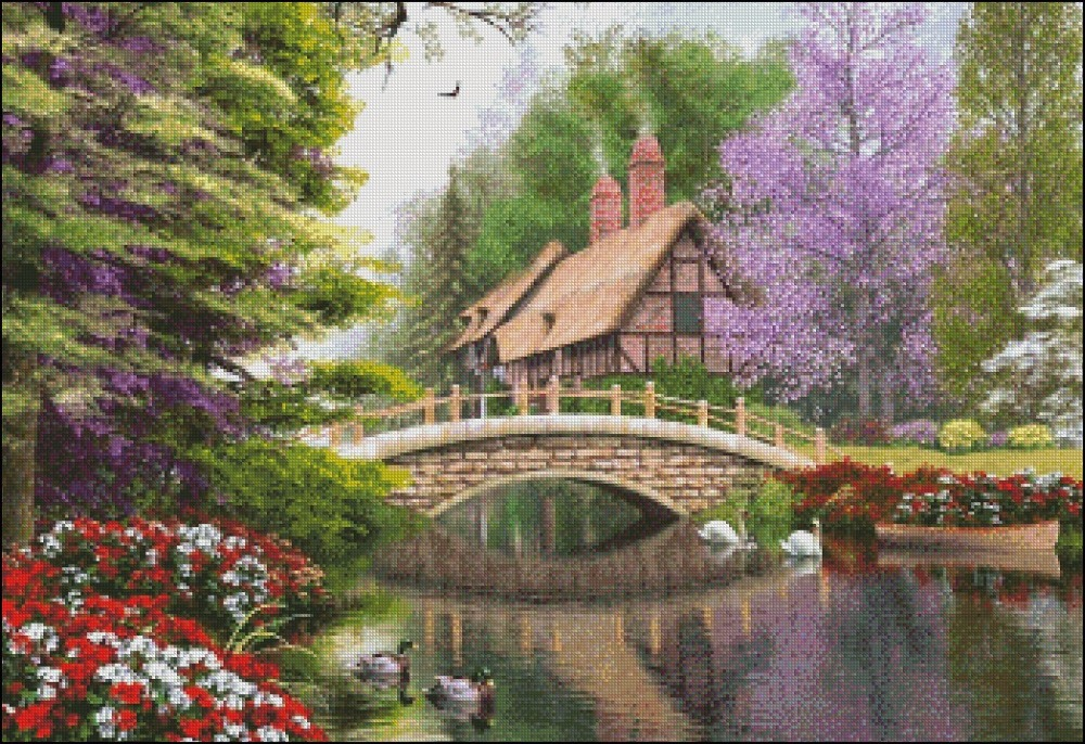 Needlework for embroidery DIY DMC High Quality - Counted Cross Stitch Kits 14 ct Oil painting - The River Cottage