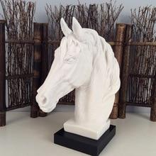 купить The Abstract Sculpture Figurine Ornaments White Sand Horse Head Office Home Decoration Accessories Art Resin Decoration Craft по цене 4479.16 рублей